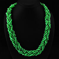 TRUELY MARVELLOUS 671.45 CTS NATURAL GREEN EMERALD ROUND BEADS NECKLACE STRAND