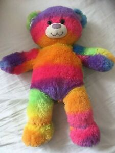 Rainbow Multicoloured striped Build a Bear with sparkly paws Excellent condition
