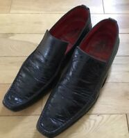 Men's Shoes Uk 9 Jeffery West Black  Inferno's Sole Croc Loafers Full Leather
