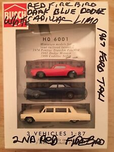 HO Scale 1:87 Busch 6001 Set Of 3 Vehicles Cars Dodge, Cadillac, Pontiac