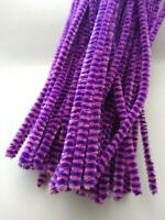 50 x Premium Craft Pipe Cleaners Chenille Stems 30cm x 6mm  PINK / PURPLE STRIPE