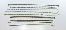 Chain Link Bracelets & Necklace, 39.7g Lot of 8 Sterling Silver Thin