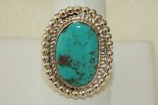 Signed Navajo Sterling Silver Sleeping Beauty Turquoise Ring Size 10