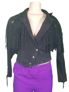 Vintage Womens Black Leather Medium Jacket:Fringe Western Winlit Cowgirl