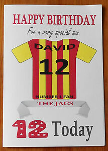 """PARTICK THISTLE FAN Unofficial PERSONALISED Football Birthday Card (""""THE JAGS"""")"""