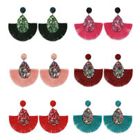 Chic Boho Crystal Long Tassel Earrings Charm Women Fringe Big Statement Earring