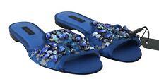 DOLCE & GABBANA Sandals Slide Blue Lace Crystal Embellished Flats EU36/5.5 $800