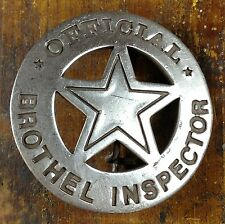 Official Brothel Inspector Round Star Silver Plate Pinback Old West Style Badge