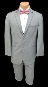 Men's Jean Yves Grey Tuxedo with Pants Summer Wedding Groom Cruise Prom 46R 40W
