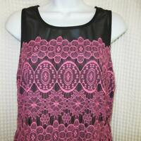 Forever 21 Sleeveless Black dress w/PINK Lace sz XL Great for SPRING or EASTER
