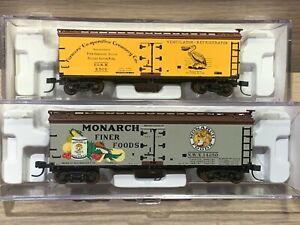 2 N Scale Atlas 40' Wood Reefer Box Cars Pelican Brands Monarch 41506 41489