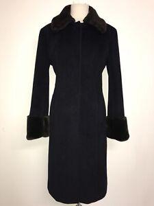 CALVIN KLEIN - Ladies Long NAVY BLUE ANGORA & WOOL COAT - Size 12 - STUNNING