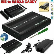 "3.5"" IDE to USB 2.0 Aluminum External HDD Enclosure Drive Black Caddy Case UK"