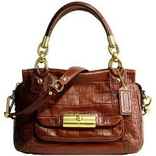 NEW COACH Ltd Ed KRISTIN EMBOSSED WALNUT CROC LEATHER TOTE BAG PURSE SATCHEL WOW