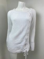 Grace Elements White Sweater Large Side Lace Up Ribbed $60 Long Sleeve Womens