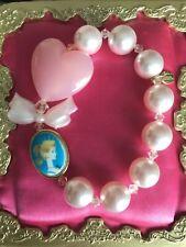 Tarina Tarantino Vintage Barbie Double Side Cameo Pearl Heart Swarovski Bracelet