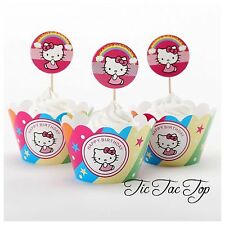 12 Hello Kitty Cupcake Toppers + 12 Wrappers. Party Supplies Lolly Loot Bags