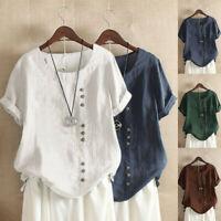Women Cotton Linen Short Sleeve T-shirt Boho Lady Loose Button Tunic Blouse Tops