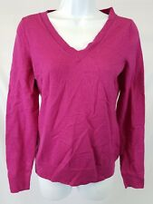 Banana Republic Womens Sweater Sz Medium V-Neck Fuchsia Merino Wool Blend