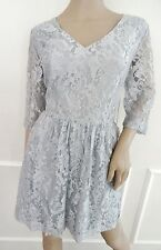Nwt Kensie Fit & Flare Lace Pleated Cocktail  Dress Sz XL X-Large Silver Gray