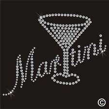 Martini Glass Rhinestone Diamante Transfer Iron On Hotfix Motif Applique Patch