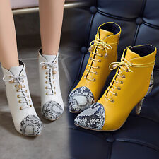Women Snake Print Boots Pointed Side Zip High Heels Boot Lace Up Stilettos Shoes
