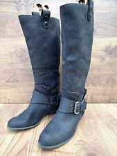DOROTHY PERKINS WOMEN'S CALF LENGTH BLACK FAUX SUEDE BOOTS SIZE UK 6 EUR 39