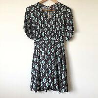 TIGERLILY Grey Teal Green Tribal Print Rayon Mini Dress Size 6 XXS Beach Boho