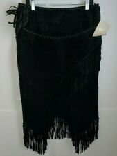 Scully Women's Asymmetrical Fringe Suede Leather Skirt, Size Large