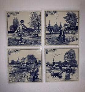 Vintage Ceramic Tile Wall Plaque Art Set of 4 Four Seasons Blue White Farmer