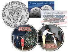 KENNEDY CHRISTMAS Colorized JFK Half Dollar US 2-Coin Set JR Jacqueline JOHN F