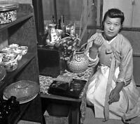 Photo. 1940s. Seoul, Korea. Woman in Teahouse