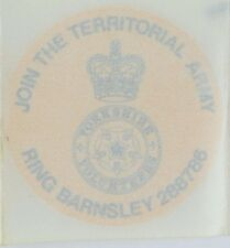 British Army Yorkshire Volunteers Recruiting Car sticker new on backing paper