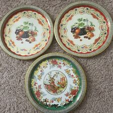 3 Daher Decorated Ware Tin Trays Made in England Platters