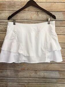 Athleta Solid White Swagger Ruffle Golf Tennis Skirt Skort Large Classic