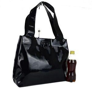 Auth Salvatore Ferragamo Gancini Black Patent Leather Tote Bag Shoulder Bag Used