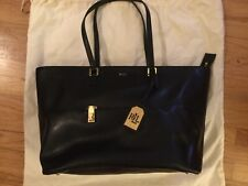 Ralph Lauren Large Whitby Leather Pocket Tote - Black - New