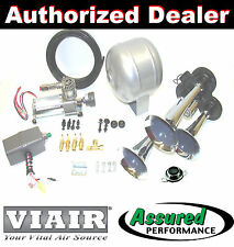 TRIPLE TRUMPET TRAIN AIR HORN VIAIR 120psi COMPRESSOR 1/2 Gal. TANK Kit Loudest