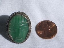 Vintage Carved JADE Face Ring Jewelry sz 5