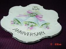 Vintage 25th Anniversary Plate Elegant Wedding Bells Pink Silver Porecelain