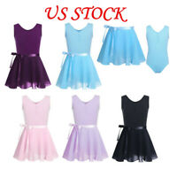 Girls Ballet Dance Leotards+Tutu Wrap Scarf Skirt Gymnastics Dancewear Costume