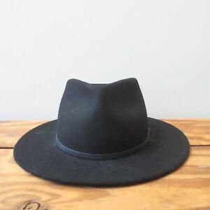 Yellow 108 Womens Black 100% Wool Water Repellent Fedora Hat 0619SM