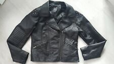 Girls Leather studded Jacket 155 cm 12- 13 y.o. black biker short zipped