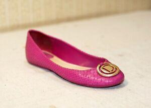 900$ DIOR fuchsia python leather gold CD logo shoes ballet flats 37.5-38 us7-7.5