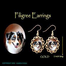 Australian Shepard Dog - Gold Filigree Earrings Jewelry