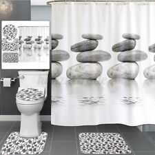 NatureCobble Stone Pebbles Shower Curtain Toilet Lid Cover Bath Mat Waterproof