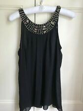 Massimo Dutti Woman Short Sleeve Embellished Gemstone black top Small