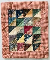 """Mini Doll Bed Quilt Vintage Fabrics Patchwork Triangles Tied 7 x 6"""" Signed 1999"""