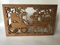 Vintage Amish Scroll Saw Folk Art Carving Wood Silhouette Mormon Wagon Horse