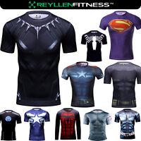 Marvel Avengers DC Superhero Compression Fitness Cycling Running Shirt T-Shirt